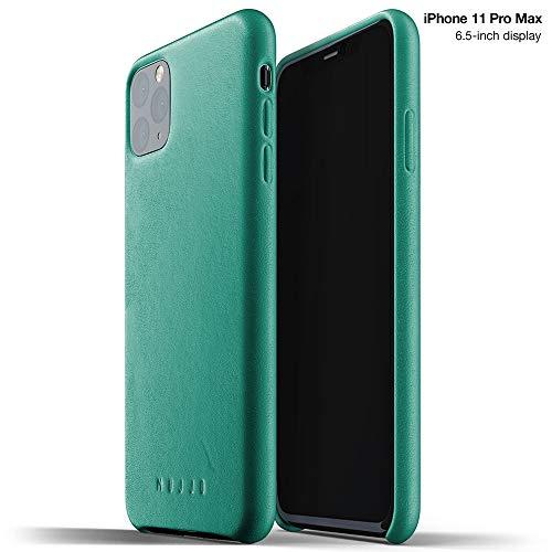 Mujjo Estuche para Apple iPhone 11 Pro MAX | Funda de Cuero Suave Efecto Envejecido Natural, Elevado 1mm en la Pantalla, Cubierta súper Delgada (Verde Alpino)
