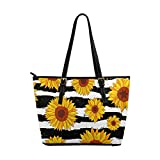 InterestPrint Sunflowers on Striped Black and White Women's Work Totes Large Capacity Shoulder Bags