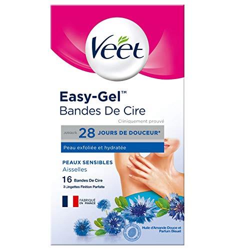 Veet Bandes de Cire Aisselles Peaux Sensibles - Le pack de 16 bandes de cire