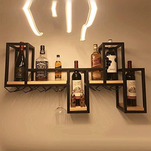 MYAOU Estante de Vino montado en la Pared Negro Soporte de Botella Almacenamiento de Vidrio de champán Soportes de Copas de Vino de Metal Estantes flotantes Accesorios de Barra Estantería de Madera