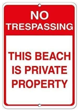 DKISEE Metall plåtskylt aluminium ingen att återkalla denna strand är privat egendom 20 x 30 cm