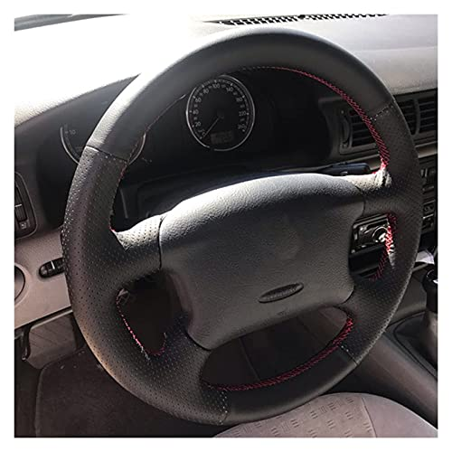 WANGFAFA Cubierta del Volante Accesorios del Coche Cubierta del Volante automático de Cuero Genuino para Volkswagen Passat B5 para Golf 4 para Skoda Octavia 1999-2005 Cubierta del Volante