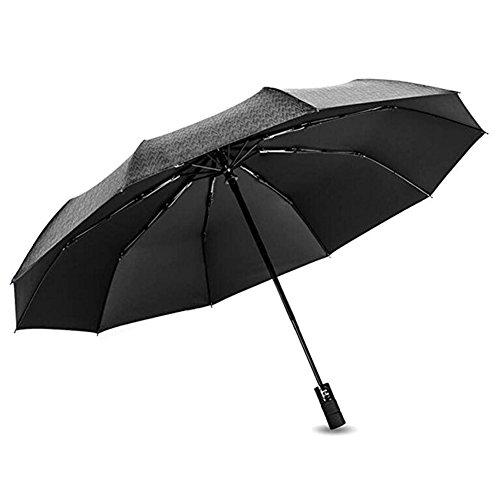 Regenschirm ,Tancurry 10-Rippe winddicht Umbrella automatischer TaschenschirmTeflon Beschichteter Schirm , 210T Stoff | 2 Jahre Zufriedenheitsgarantie | - Schwarz
