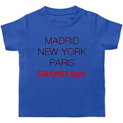 Städte & Länder Baby - Weltstadt-Darmstadt - 1/3 Monate - Royalblau - T-Shirt - BZ02 - Baby T-Shirt Kurzarm