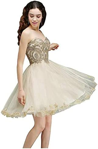 MisShow Short Gold Bridesmaid Dress Wedding Guest Desses for Teenagers Champagne US8 product image