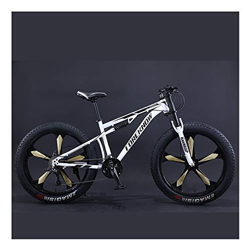 YCHBOS Bicicleta de Montaña 26 Pulgadas para Adultos Neumáticos Gruesos, 27 Velocidad Fat Bike Bicicleta de Nieve, Suspensión Completa, Doble Freno de DiscoE