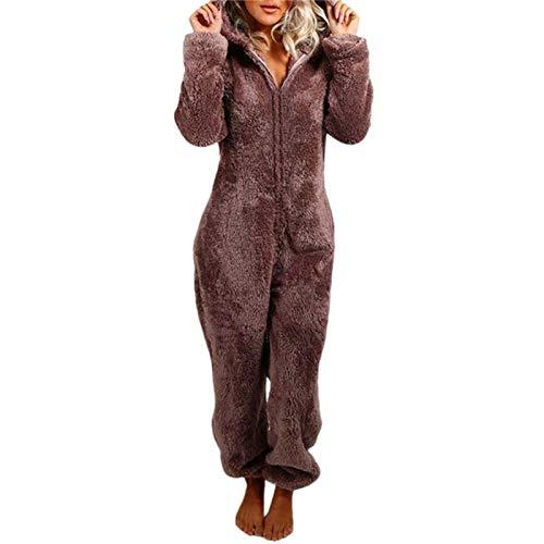 Geagodelia Pijama de peluche para mujer, pijama entero de invierno, forro polar de coral, mono de manga larga, mono con cremallera, sudaderas con capucha de peluche, ropa de noche Café M