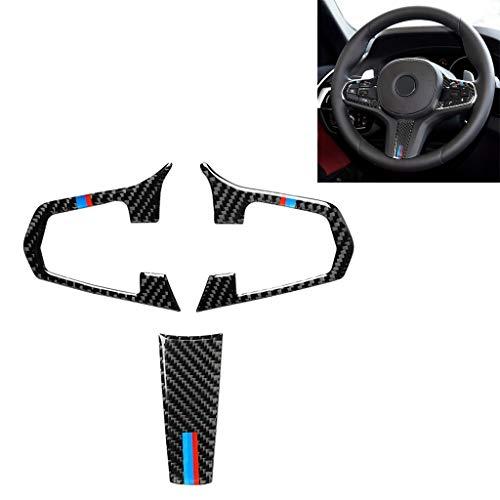 3 in 1 Auto-Carbon-Faser-Tricolor-Lenkrad-Knopf dekorativen Aufkleber for BMW 5er G30 X3 G01, linken und rechten Antriebs Universelle