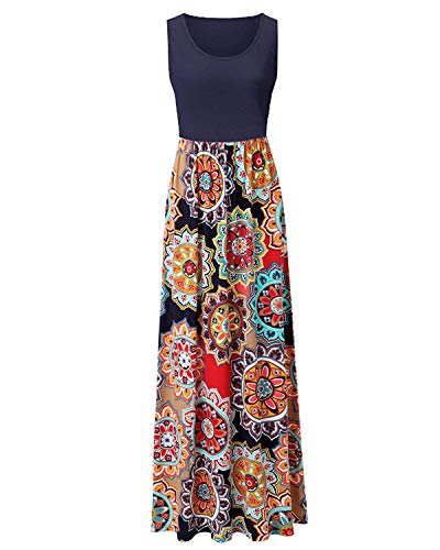 Abravo Mujer Vestido Casual Estampado Floral Bohemia Largo Vestido sin Mangas Verano Maxi Dress Playa,Azul Oscuro,M