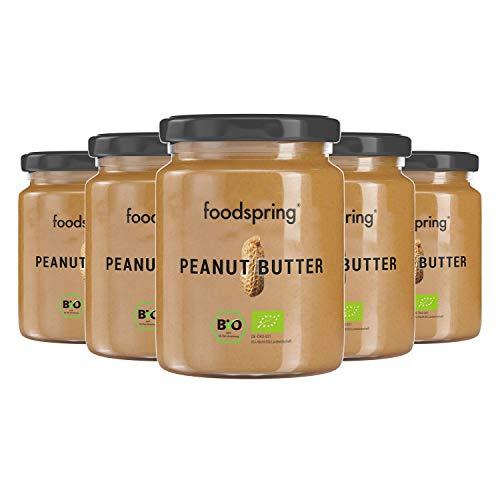 foodspring Bio Erdnussbutter, 6 x 250g, Der leckere, proteinreiche Snack, Ideal als Brotaufstrich, Snack, Topping oder Sauce