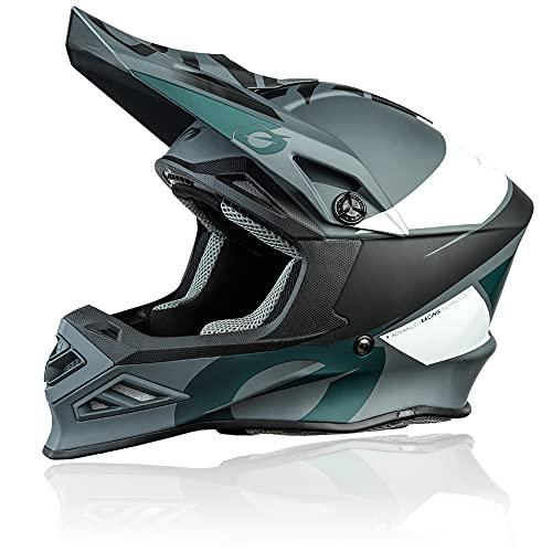 O'NEAL | Motocross-Helm | MX Enduro Motorrad | Innovative und leichte Fiberglas Außenschale, Doppel-D-Sicherheitsverschluss | F-SRS Helmet Glitch | Erwachsene | Schwarz Grau | Größe L