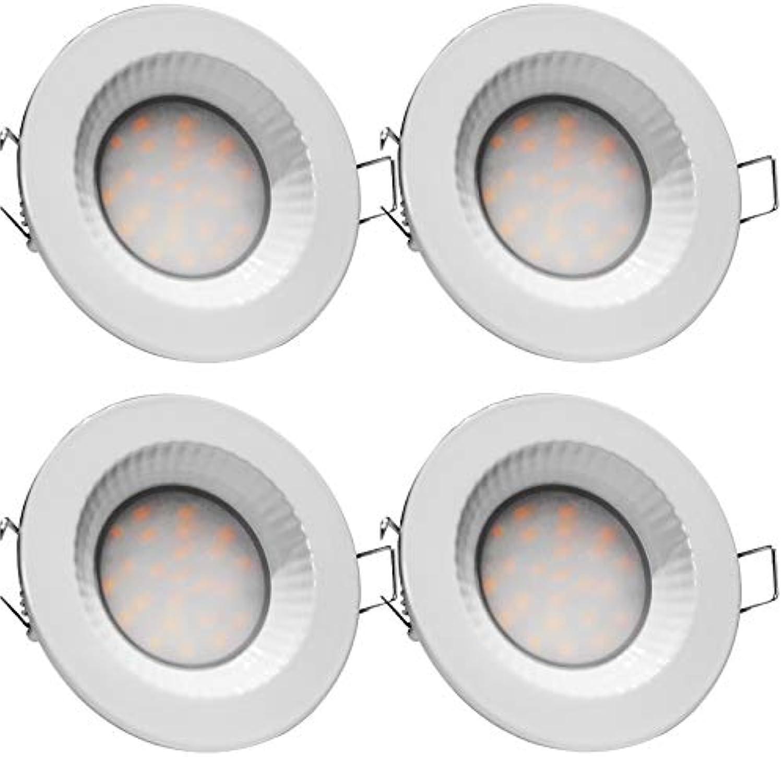 4x LED Bad Einbaustrahler 220V 5W IP54 LED Einbauleuchten Nautik Flach Farbe Wei 3000K 40mm Einbautiefe