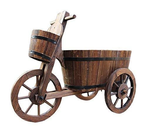 Mkuha Dreirad aus Holz,dekorative Dreirad, behandelt aus Holz, gartendeko, pflanzkorb, blumentopf, pflanzkübel, pflanztrog, pflanzgefäß, pflanzkasten, übertopf, blumenkasten, c