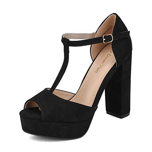DREAM PAIRS - Sandali da donna, con tacco alto, con cinturino alla caviglia, nero (nero/camoscio.), 38.5 EU