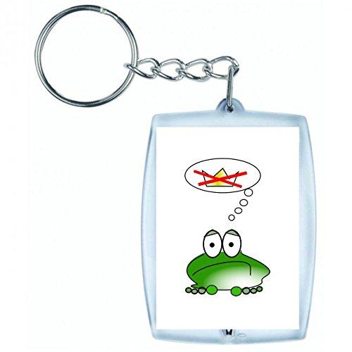 Druckerlebnis24 Schlüsselanhänger - Frog- Traurig- Grün- Amphibien- Tier- Denken- Krone- Märchen- Prinz- König- Tierwelt- Unzufrieden- Launisch- Frosch - Keyring - Taschenanhänger - Schlüsselring