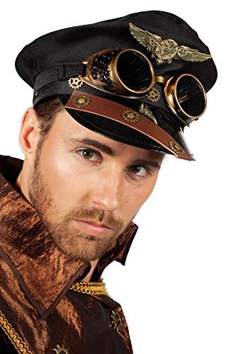 Wilbers & Wilbers Steampunk Schirmmütze Pilot mit Googles Fliegerabzeichen Zahnräder Uniform Kappe Hut Mütze Kostüm-Zubehör