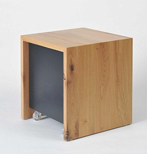 Unbekannt Design Beistelltisch mit Stauraum, Nachtisch, Salontisch, Couchtisch,Sofatisch, Kaffeetisch, Teetisch,in Holz Eiche, MDF schwarz, Rückwand + Böden in Alu gebürstet