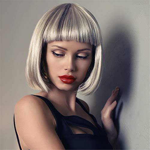 JUZHEN Frange Courte pour Les Cheveux raides, Perruque Blanche et argentée, Capuchon en Fibres Chimiques, Coiffure Moderne Mode Bobo, Essentiel de beauté, 12 Pouces