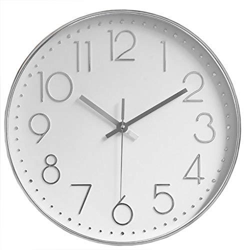 Orologio da Parete Orologio da Parete Tondo a Batteria Decorativo Silenzioso Senza Ticchettio per Home Office Scuola Soggiorno Camera da letto Cucina (Bianco-Argento-B)