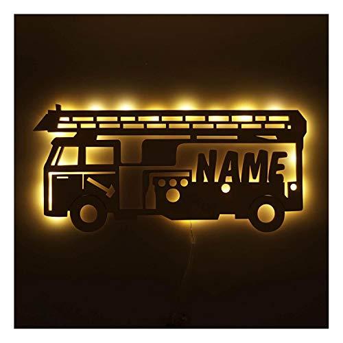 Personalisiertes Nachtlicht Lampe Holz Feuerwehr-auto mit Namen ideal als Geschenk für Feuerwehrmänner Jungs Mädchen Männer