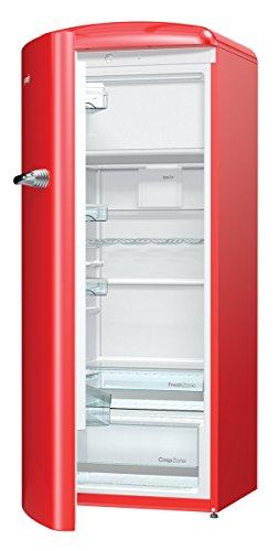 Gorenje ORB 153 RD-L Kühlschrank mit Gefrierfach / A+++ / Höhe 154 cm / Kühlen: 229 L / Gefrieren: 25 L / Rot / DynamicCooling-System / LED Beleuchtung / Oldtimer / Retro Collection