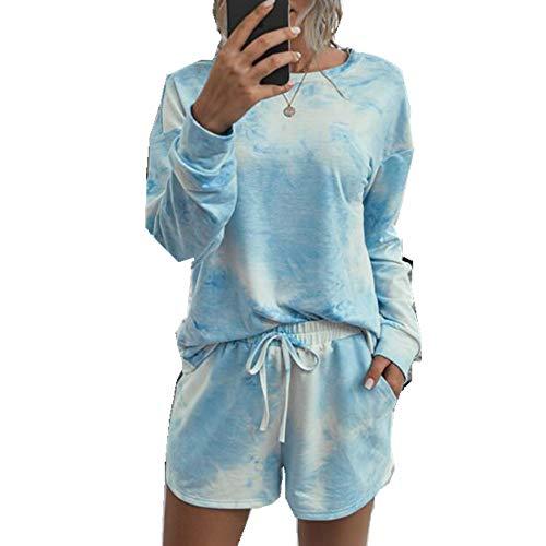 x8jdieu3 Summer Home Bequemer Modedruck Einfarbiger Rundhalsausschnitt Weiblicher Kurzarmhemd-Shorts-Anzug