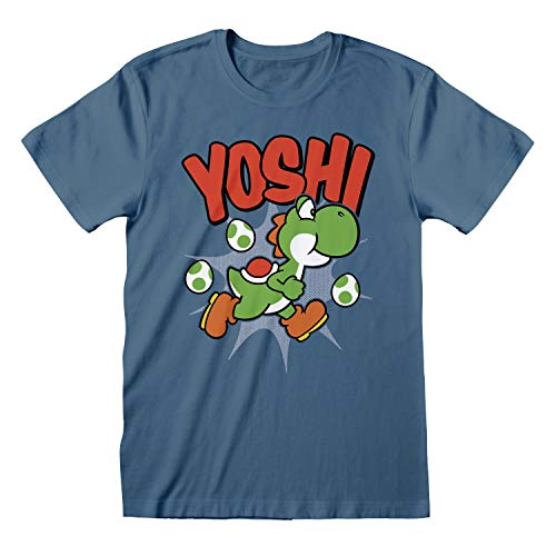 Nintendo T-Shirt Super Mario Yoshi da Uomo in Blu