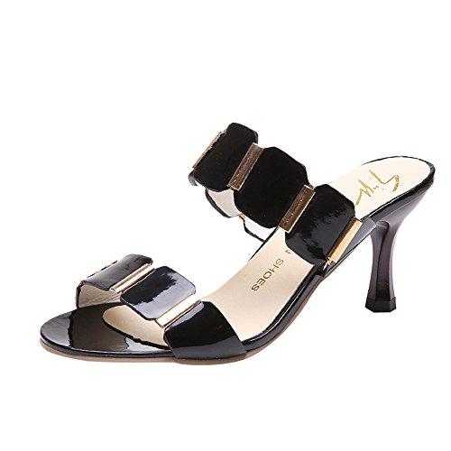 YWLINK Mode Damen Elegant High Heels Hausschuhe Sandalen KnöChelhoch DüNne Fersen Party Open Toe Schuhe(Schwarz,EU 37)