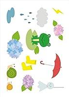 igsticker ポスター ウォールステッカー シール式ステッカー 飾り 1030×1456㎜ B0 写真 フォト 壁 インテリア おしゃれ 剥がせる wall sticker poster 016340 あじさい 梅雨 花 かえる
