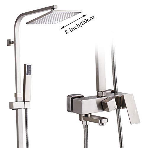 Rubinetto per doccia a pioggia in nichel spazzolato Set per montaggio a parete Miscelatore per vasca da bagno quadrato Miscelatore per doccia per bagno Rubinetto Bocca girevole-8 pollici