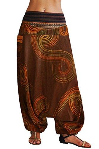 virblatt - Goa Hose   100% Baumwolle   Damenhose mit Gummizug Yoga Haremshose Damen Aladinhose Hippie Sommerhose Damen - Traumfänger S-L braun