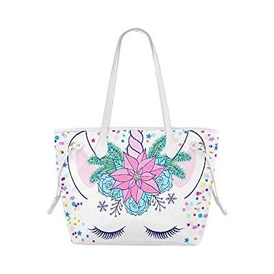 Handbag Shoulder Bag Head Hand Drawn Unicorn Floral Wreath Woman Bag Carry Shoulder Bag Large Capacity Water Resistant With Durable Handle