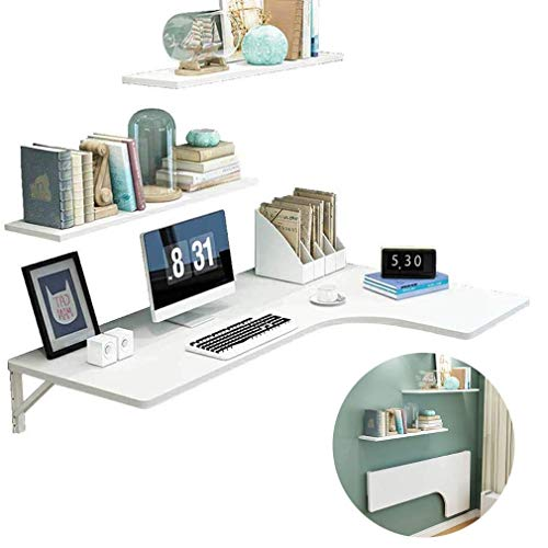 FXPCQC Mesa Plegable de Pared con 2 estantes, Escritorio Simple para computadora portátil, estantes para Sala de Estar, Escritorio de Aprendizaje, Mesa de Comedor, Soportes para trípode y Accesorios