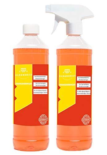 2x1 Liter Orangenreiniger Konzentrat I Reinigungsmittel I Universalreiniger I Glasreiniger I WC-Reiniger I Badreiniger I Küchenreiniger für Haushalt und Industrie I mit praktischer Sprühflasche