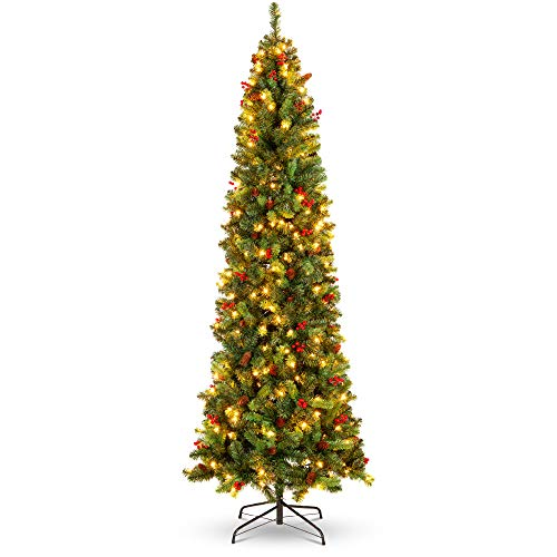 Best Choice Products 9ft Pre-Lit Spruce Pencil Christmas Tree Pre-Decorated for Home, Office, Party, Holiday Decoration w/ 1,298 Tips, 460 Lights, Pine Cones, Metal Hinges & Base - Green
