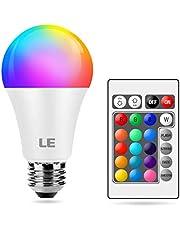 Lepro Färgskiftande glödlampa E27, dimbar LED-glödlampa, RGB och varmt vit, 16 färger, 9 W = 60 W, humörlampor för rumsdekorationer, födelsedagsfest, hemmabar och mer, fjärrkontroll ingår