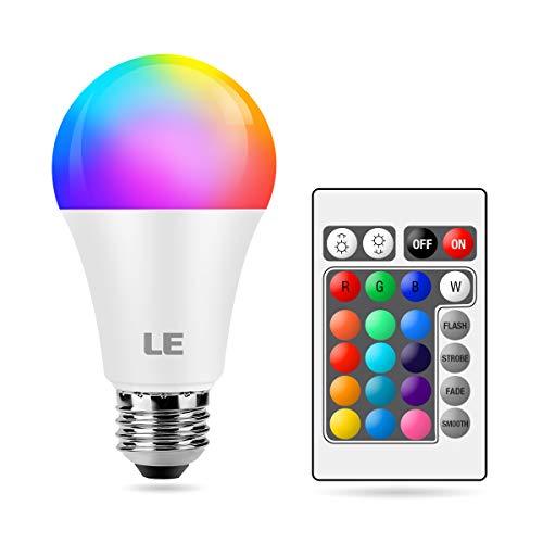 LE Farbwechsel E27 LED Lampe, 9W Dimmbar Birne mit Fernbedienung, RGB & Warmweiß, 16 Farben, 9 W = 60 W, 2700 Kelvin LED Leuchtmittel, Fernbedienung inklusive