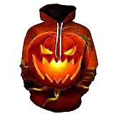 WBYFDC Unisex Hombres Halloween Digital Impreso 3D Sudadera Divertida Sudadera Mujer Harajuku Pullover con Capucha Primavera Otoño Chándal Casual De Manga Larga