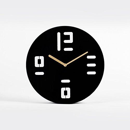 WuuLii Decor Horloge Murale - Horloges Murales Décor Salon Non-Ticking Horloge À Quartz Simple Horloge Électronique Ronde en Fer Forgé, 14-Inch-001