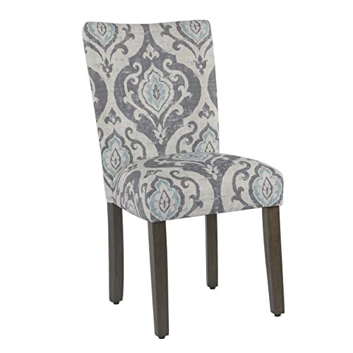 HomePop Parsons Classic Upholstered Accent Dining Chair, Set of 2, Suri Blue