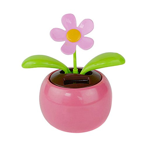 yingyue Cute Solar Powered Dancing Swinging Animated Flower Toy Car Ornament Home Office Desk Decor Gift Pink