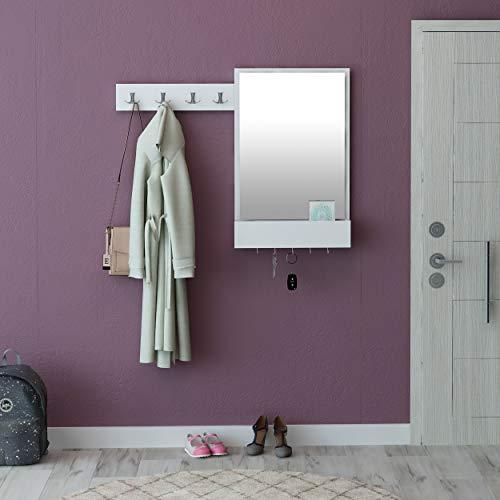 Avalon kast met 9 haken, 1 spiegel en 1 plank. Kleur: wit en chroom, gecoat met melode, metaal met chromen coating voor ontbramen, kleding, kledingstandaard, ruimtebesparend.