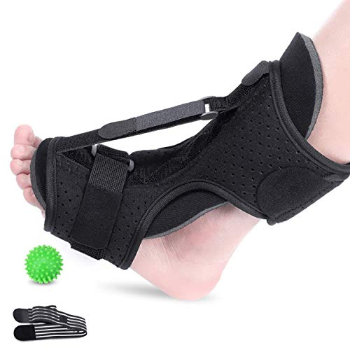 LIUMY Plantar Fasciitis Night Splint, Orthotic Foot Drop Brace, Adjustable Elastic Dorsal Brace for Plantar Fasciitis, Heel, Ankle, Arch Foot Pain, Achilles Tendonitis with Massage Ball (Black)