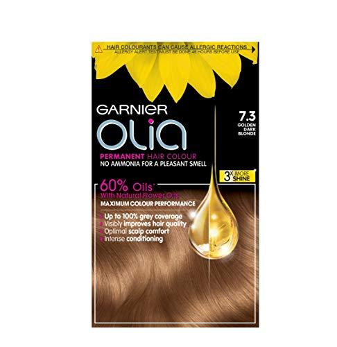 Garnier Olia Dark Blonde Hair Dye Permanent, Up to 100% Grey Hair Coverage, No Ammonia for a Pleasant Scent, 60% Oils -7.3 Golden Dark Blonde