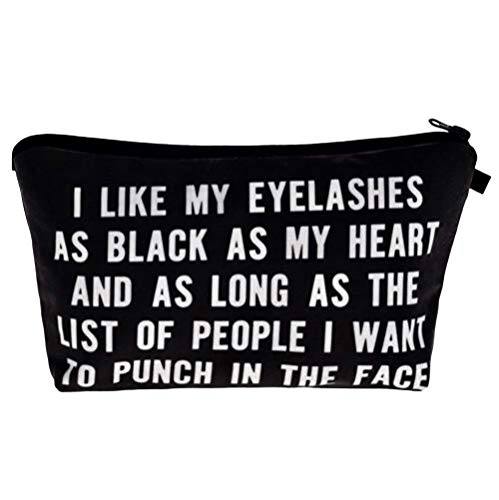 I Like My Eyelashes As Black As My Heart - Funny Mascara Makeup Bag With Saying For Women Cosmetics Toiletry and Travel Cute Eyelash Gifts