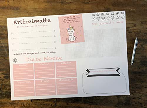 Schreibtischunterlage DIN A2 für Kinder Mädchen XXL EINHORN KRITZELMATTE Schreibunterlage mit 25...