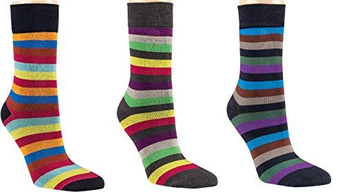 by Riese 3-15 Paar Bambus Socken Bambussocken Ringel 2 Softrand ohne Gummi für Damen (9, 39/42)