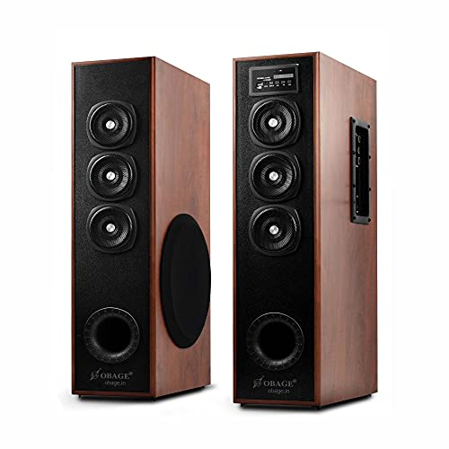 OBAGE DT-2605 100W Home Theater Double Tower Speaker with Bluetooth 5.0, USB, Dual AUX, FM