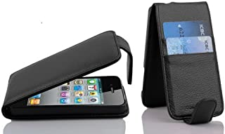 Cadorabo Case Works with Apple iPhone 4 / iPhone 4S in Oxid Black – Flip Style Case Made of Faux Leather with Card Slot – Wallet Etui Cover Pouch PU Leather Flip