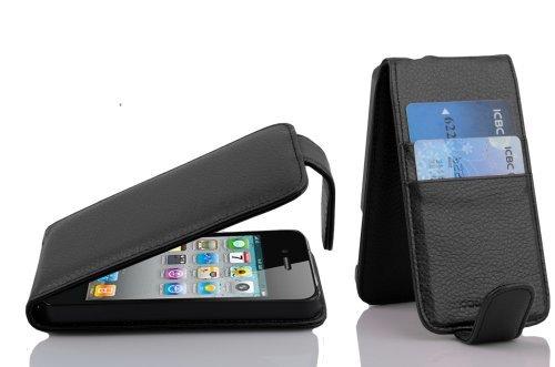 Cadorabo Funda para Apple iPhone 4 / iPhone 4S in Negro Jet - Cubierta Proteccíon Estilo Flip con Tarjetero - Etui Case Cover Carcasa